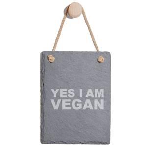 Yes I Am Vegan Engraved Slate Memo Board - Portrait