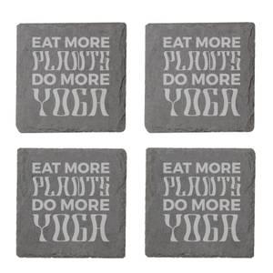 Vegan Collection 2020 Eat More Plants Do More Yoga Engraved Slate Coaster Set