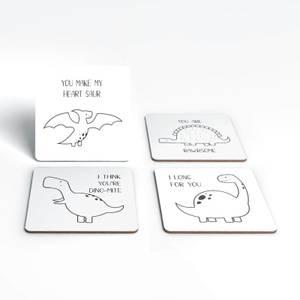 Dino Puns Coaster Set