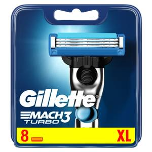 Gillette Mach 3 Turbo 3D Razor Blades Refill, 8 Pack