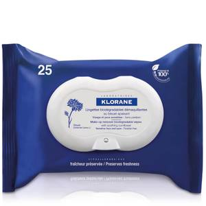 KLORANE Soothing Biodegradable Make-Up Removal Wipes with Cornflower 25 wipes