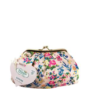 The Vintage Cosmetic Company Cosmetic Clutch Bag - Pink Floral Satin (Free Gift)