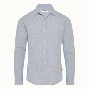 Orlebar Brown Men's Giles Linen Shirt - Navy/White