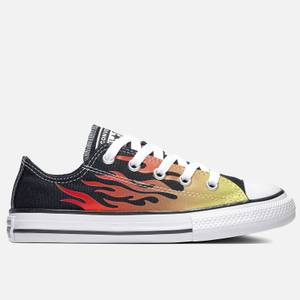 Converse Kids' Chuck Taylor All Star Archive Flame Ox Trainers - Black/Enamel Red