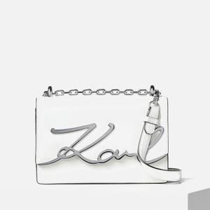 KARL LAGERFELD Women's K/Signature Small Shoulder Bag - White