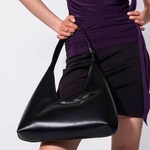 BY FAR Women's Amber Semi Patent Bag - Black