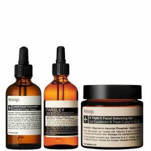 Aesop Lucent Concentrate, Triple C Balancing Gel and Parsley Seed Serum Bundle (Worth £225.00)