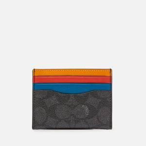 Coach Men's Flat Colourblocked Card Case - Charcoal/Multi
