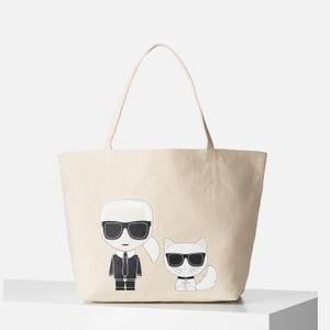 Karl Lagerfeld Women's K/Ikonik Karl & Choupette Tote Bag - Natural