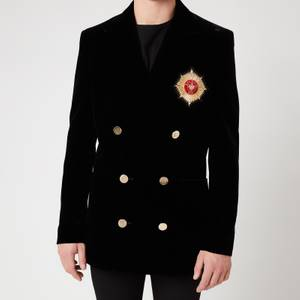 Balmain Men's Velvet Double Breasted Badge Blazer - Black