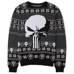 Marvel Punisher Christmas Knitted Jumper Grey