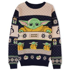 Mandalorian The Child Christmas Knitted Jumper Navy
