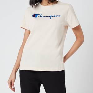 Champion Women's Large Script T- Shirt - Sand
