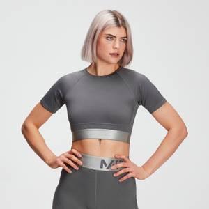 MP Women's Adapt Textured Crop Top- Carbon