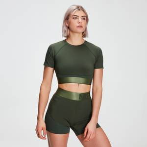 MP Women's Adapt Textured Crop Top- Dark Green