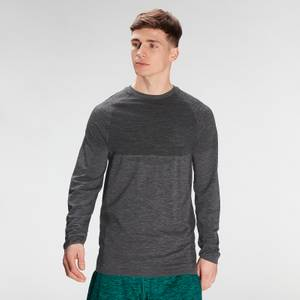 MP Men's Essential Seamless Long Sleeve Top- Storm Grey Marl