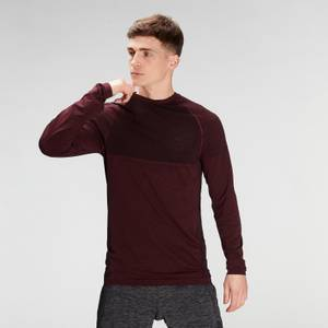 MP Men's Essential Seamless Long Sleeve Top- Washed Oxblood Marl