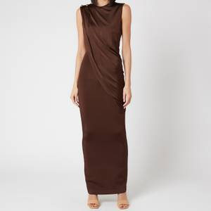Balmain Women's Long Sleeveless Asymmetric Draped Dress - Dark Brown