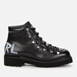KARL LAGERFELD Women's Kadet II Leather Hiking Style Boots - Black