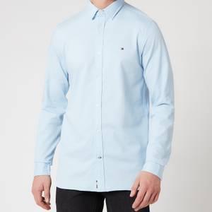 Tommy Hilfiger Men's Slim 4 Way Stretch Dobby Shirt - Calm Blue