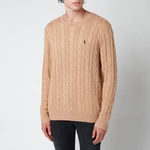 Polo Ralph Lauren Men's Cable Knit Cotton Jumper - Camel Melange