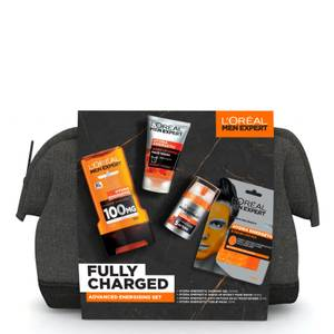 L'Oreal Paris Men Expert Fully Charged Washbag 4 Piece Gift Set For Him (Worth £22.00)
