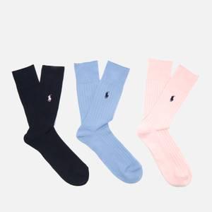 Polo Ralph Lauren Men's Ribbed Egyptian Cotton 3 Pack Socks - Heather Pink/Light Blue/Cruise Navy