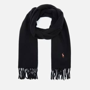 Polo Ralph Lauren Men's Fringed Virgin Wool Scarf - Black