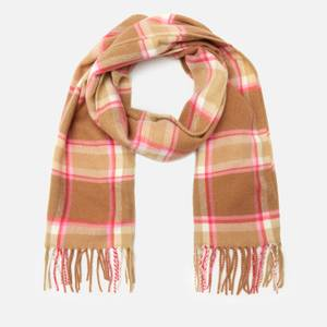 Joules Women's Bracken Soft Handle Scarf - Beige Pink Check