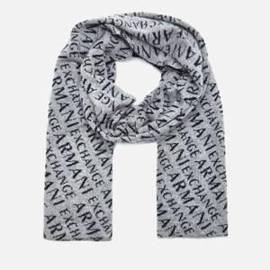 Armani Exchange Men's Logo Scarf - Medium Grey Melange