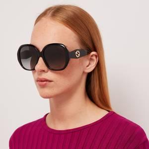 Gucci Women's Round Acetate Sunglasses - Black/Grey