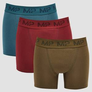 MP Men's Essential Boxers (3 Pack) Oxblood/Sea Blue/Dark Olive