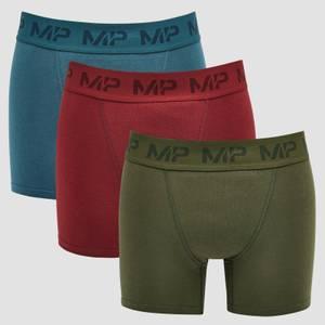 MP Men's Essential Boxers (3 Pack) Oxblood/Sea Blue/Dark Olive
