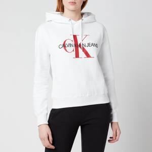 Calvin Klein Jeans Women's Crop Monogram Hoodie - Bright White