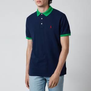 Polo Ralph Lauren Men's Mesh Knit Contrast Collar Polo Shirt - French Navy