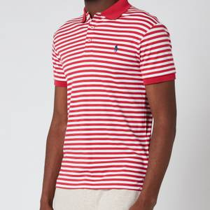 Polo Ralph Lauren Men's Interlock Striped Slim Fit Polo Shirt - Sunrise Red/White