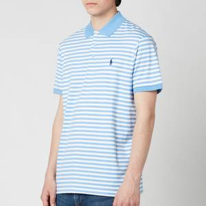 Polo Ralph Lauren Men's Interlock Striped Custom Fit Polo Shirt - Cabana Blue/White