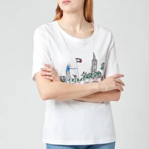 Tommy Hilfiger Women's Regular Box Tower Open-Neck T-Shirt - White