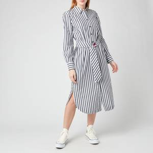 Tommy Hilfiger Women's Poplin Midi Shirt Dress - Banker STP/Desert Sky