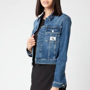 Calvin Klein Jeans Women's Cropped 90's Denim Jacket - Denim Dark