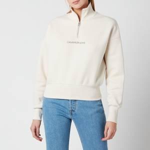 Calvin Klein Jeans Women's Back Reflective Logo Half Zip - White Sand