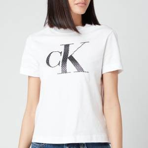 Calvin Klein Jeans Women's Satin Bonded Filled Ck T-Shirt - Bright White