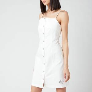 Calvin Klein Jeans Women's Cotton Twill Button Dress - Bright White