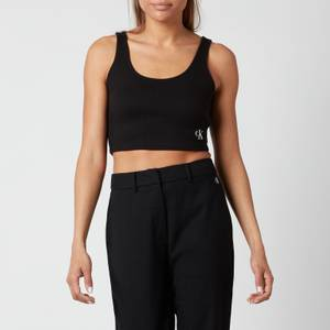 Calvin Klein Jeans Women's Slub Rib Cropped Strappy Top - CK Black