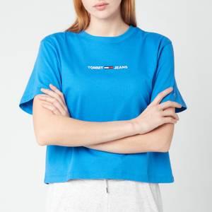 Tommy Jeans Women's TJW Bxy Crop Linear Logo T-Shirt - Gulf Coast Blue