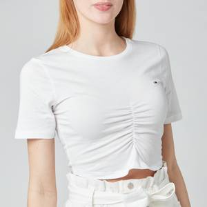 Tommy Jeans Women's TJW Crop Ruche Top - White