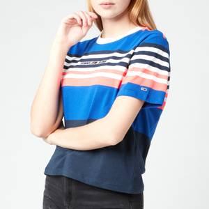 Tommy Jeans Women's TJW Bxy Crop Linear Logo Stripe T-Shirt - Gulf Coast Blue Stripe