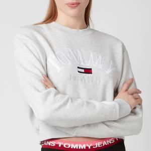 Tommy Jeans Women's TJW Crop College Logo Sweatshirt - Silver Grey HTR