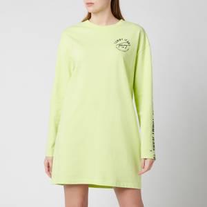 Tommy Jeans Women's TJW Logo Ls Tape T-Shirt Dress - Faded Lime/Multi
