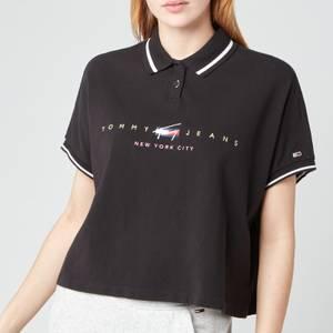 Tommy Jeans Women's TJW Bxy Crop Modern Logo Polo - Black